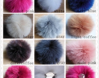 13cm Real Feather Pompom Ball Plume Fur Pom Pom Knit Hat Pompoms With Pin Button Removable