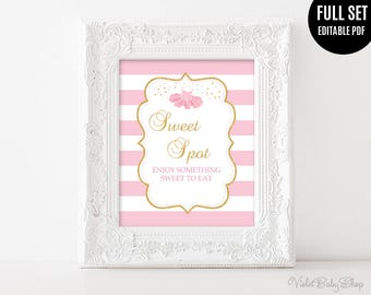 Baby Shower Sign Template. Printable Baby Shower Sign. Tutu Excited Sign. Sweet Spot Sign. Pink and Gold and Pink Ballerina Download