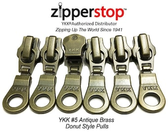 Zipper Repair Kit Solution YKK #5 Zipper Heads -YKK Brand Donut Style Pulls - 5pcs with Top and Bottom Stoppers (Antique Brass)