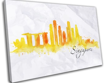 Watercolour Singapore Skyline Cityscape Canvas Print Home Decor- Abstract Wall Art - Modern Prints - Ready To Hang