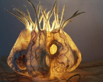 One of a Kind, Felted Lamp. Wool lamp, Night light.