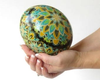 Ostrich egg Pysanka traditional Ukrainian pattern with Blue Green and yellow