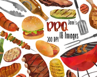 Watercolor BBQ Clipart - Barbeque Items Download - Instant Download - Grill - Kebab - Ribs - Brisket - American Culture