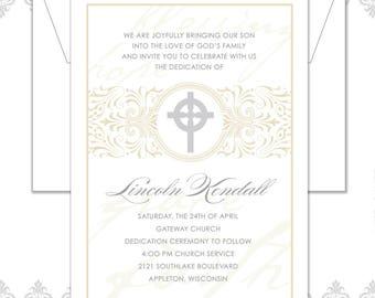 Baptism Announcement, Baptism Invite, Christening Announcement, Cross Baptism Invite, Christening Invite, Vintage Baptism Invite, Cross