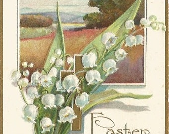 White Lily Of The Valley with Gold Christian Cross over Spring Meadow Scene Springtime EASTER Greeting Vintage Postcard