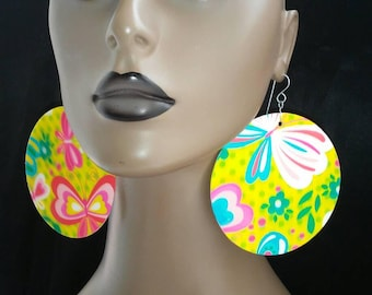 Unique Holographic Art Print Multi Color Plastic Round  Earrings with Butterfly Design, Large Earrings, Women Earrings, Plastic Earrings
