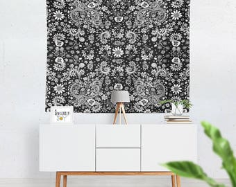 Floral black white tapestry wall hanging bird art tapestries floral art tapestry floral tapestries black white tapestry shabby chic tapestry