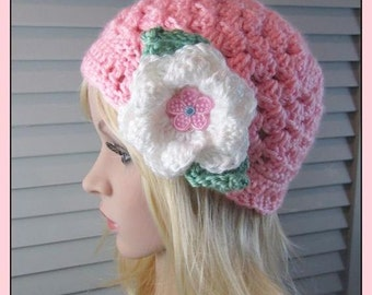 Bright Pink Crocheted Granny Hat with a Big White Flower and Leaves ..