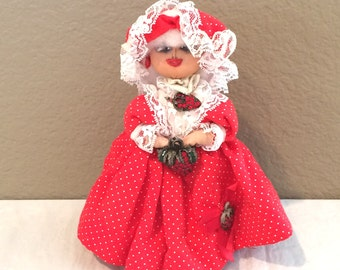 "Vintage 1991 Handmade Cloth & Nylon Stocking Doll  9""  Doll  Ruby   by Cecilia Signed  OOAK! AMAZING DETAILS!"