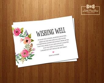 Wishing Well, Floral Wishing Well Printable, Floral Wreath Wedding Wishing Well Card Printable, Printable Wishing Well, Wedding