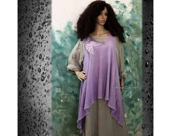 Hand Dyed Lilac Linen Tunic with Leaves and Net Lagenlook Plus Size OOAK