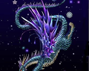 Ice Dragon. dragon. dragon print. dragon art print.dragon wall art. dragon decor. 16x20 framed