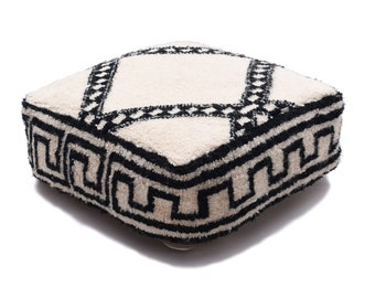 Moroccan Pouf, Floor Cushion, Beni Ourain Pouf Ottoman, Floor Pillow, Foot Stool, Refashioned from a New Berber Rug. PVA021