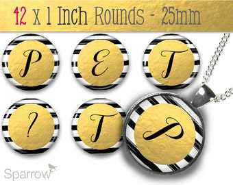 Gold Foil with Black and White Stripes Alphabet & Numbers -1 Inch Bottle Cap Images -Scrapbooking -Buy 2 Get 1 Free -Digital Download