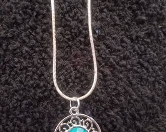 Aqua & Silver Pendant Necklace