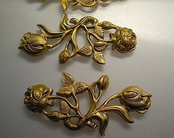 3 large brass rose charms