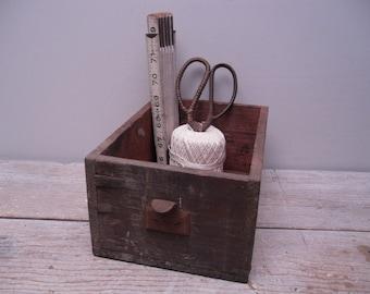rustic wood shop drawer / wood box / industrial storage
