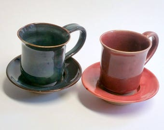 Espresso Cups with Saucers - in Cranberry Red or Shades of Blue - Cup and Saucer - Wheel Thrown Pottery - Purchase one or both
