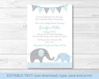 Blue Elephant Chevron Baby Shower Invitation / Blue & Grey / INSTANT DOWNLOAD Editable PDF A228