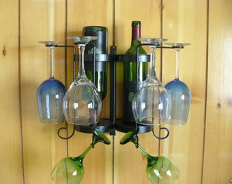 4-6 Glass 2 Bottle Tabletop or Wall mounted wine holder