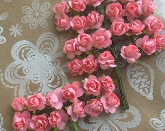 36 tiny pink Koral paper flowers,  Paper flower,tiny pink flower, craft wedding roses,pink roses decor craft events,baptism,weddings