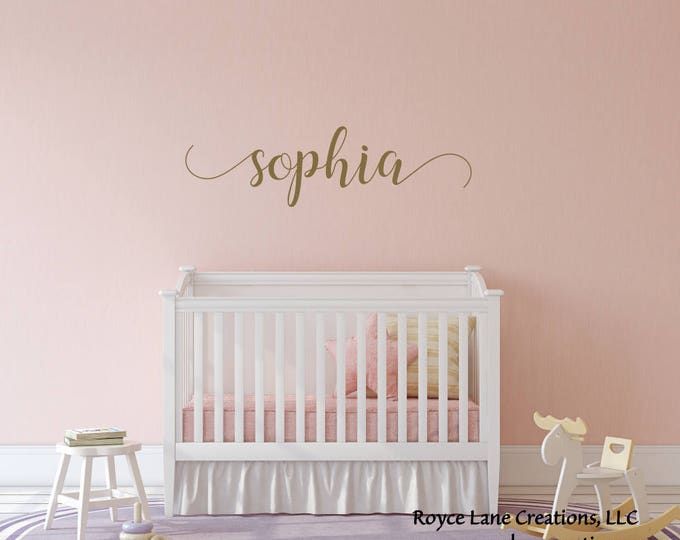 Baby Girl Name Nursery Decal/Girls Nursery Decal/Gold Name Decal/Girl Nursery Decor/Girl Name Wall Decal/Girl Nursery Wall Decor/Nursery Art