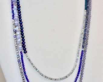 Multiwrap Necklace/Bracelet in Blues