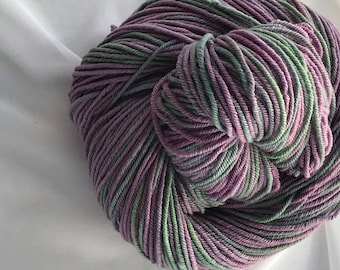 """4oz Hand Dyed Rare Rambouillet Yarn 300 yds DK weight """"Lilacs"""""""