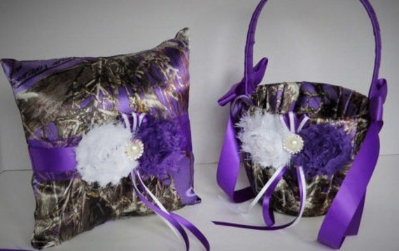 Purple Camo Wedding Flower Girl Basket Wedding Ring Bearer