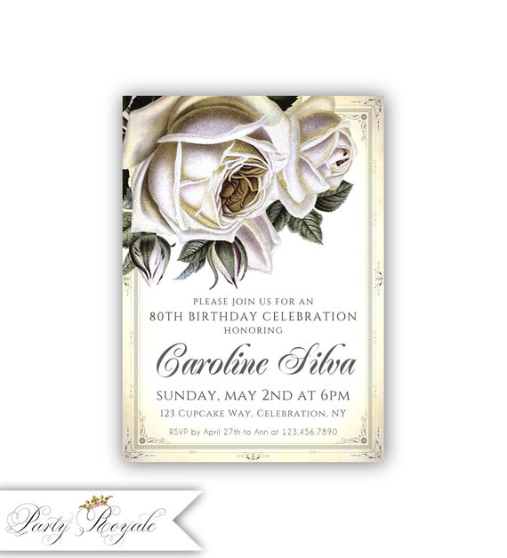 Vintage Rose 80th Birthday Invitations Womens Birthday