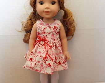 Valentine Hearts dress made to fit 14.5 inch dolls, pink, red