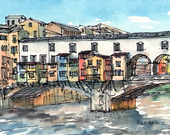 Florence Ponte Vecchio art print from  watercolor painting