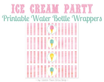 Printable Ice Cream Party Water Bottle Wrappers, Ice Cream Shoppe Social Parlor Party Water Bottle Labels, PDF INSTANT DOWNLOAD