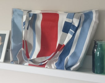 Handmade Blue and Red Lined Tote Bag - with internal pocket