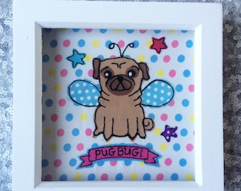 Pug, 'pugbug' free motion machine embroidery  Framed Picture