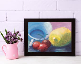 Lemon Painting - Cherry Painting - Tea Cup Painting - Fruit Painting - Original Oil Painting - Kitchen Decor - Cherry Decor - Lemon Decor