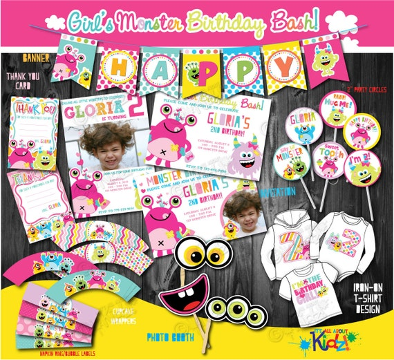 Girls Monster Party Package First Monster Birthday Party1st