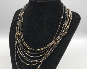 Vintage Sterling Silver Clasp 8 Stranded Necklace
