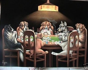 Dogs Playing poker black velvet original oil painting hand painted signed art 18 by 24 inches