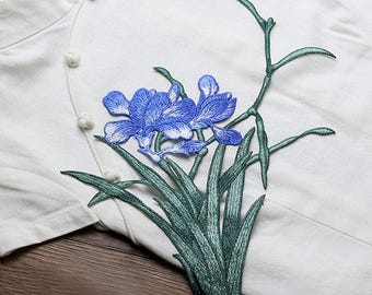 Green and Blue Flowers Patches