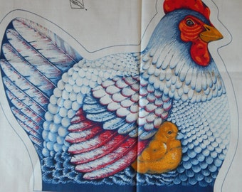 Hen and Chicks Fabric Panel/Farmlife Collection/Vintage Cranston Print Work Co. VIP Screen Print /Sew & Stuff/Soft Sculpture,Door Stop,Blue