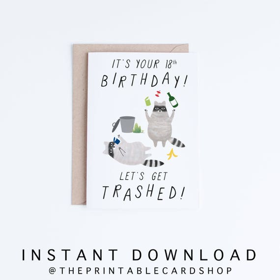 Printable 18th Birthday Cards Funny 18 Birthday Cards Instant