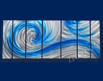 """66x24"""" metal art sculpture classy modern sea wave contemporary home office wall decor Ocean Dance blue silver abstract hand painting by Lubo"""