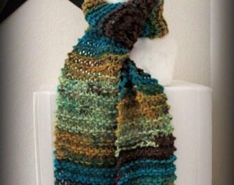 knit scarf - hand knit scarf - scarf - acrylic knit scarf - warm knit scarf - brown knit scarf - neutral knit scarf - turquoise knit scarf