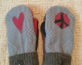 Repurposed Felted Sweaters Mittens-Peace and Love