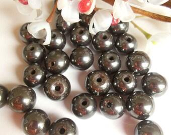 set of 15 round hematite beads