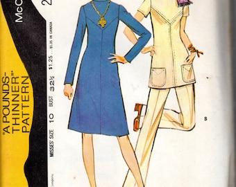 """1970s Mod Women's Dress, Tunic & Pants Pattern - Size 10, bust 32 1/2"""" - McCall's 2952"""