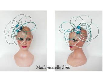 Turquoise tassel Fascinator, fascinator wedding, ceremony, wedding hat, Hütchen woman hat, pillbox hat