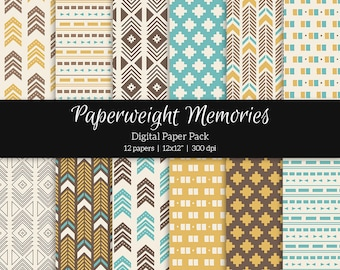 "Digital patterned paper - Tribal Aztec Blue -  digital scrapbooking - patterned paper - 12x12"" 300dpi  - Commercial Use"