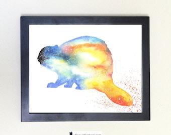 Beaver Art Print, Totem Spirit Animal Watercolor 8x10